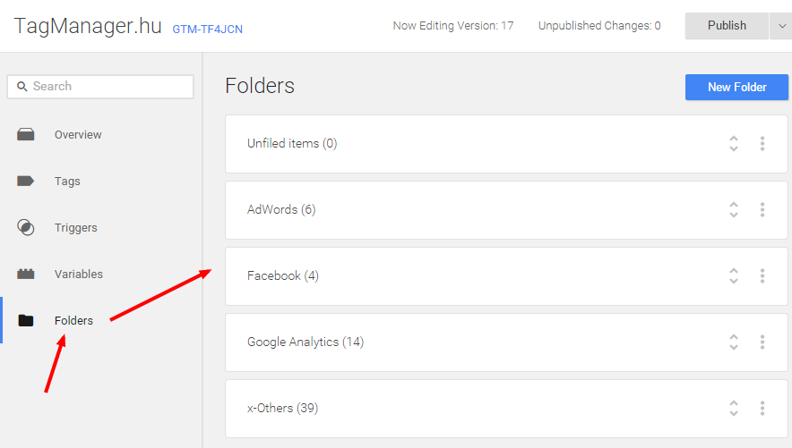 Google Tag Manager: mappák (folders)