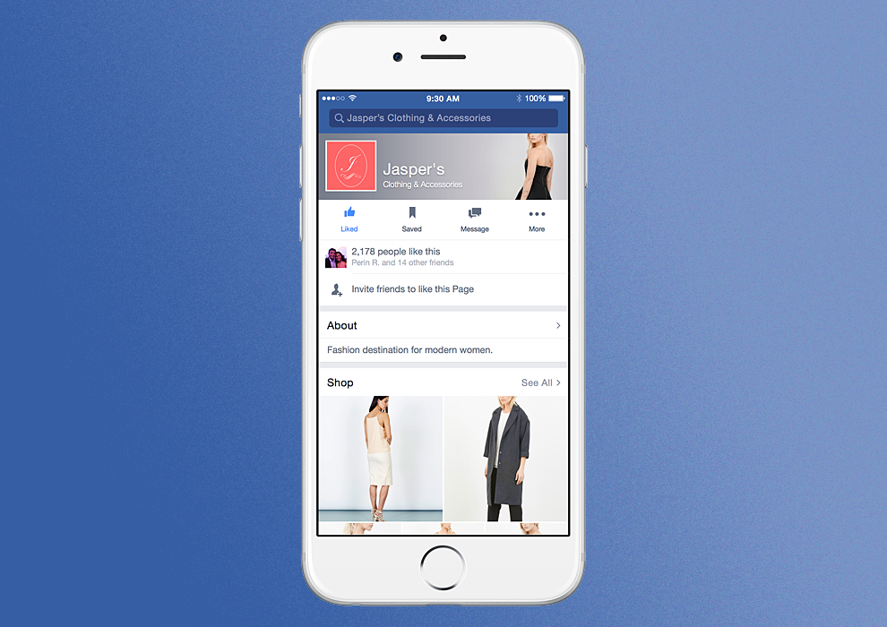 Facebook webárház
