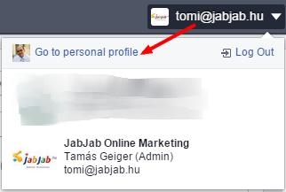 Új Facebook Business Manager: profil váltás