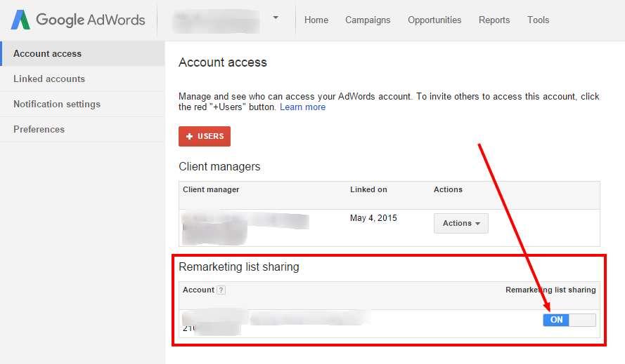 Remarketing listák megosztásának engedélyezése AdWordsben