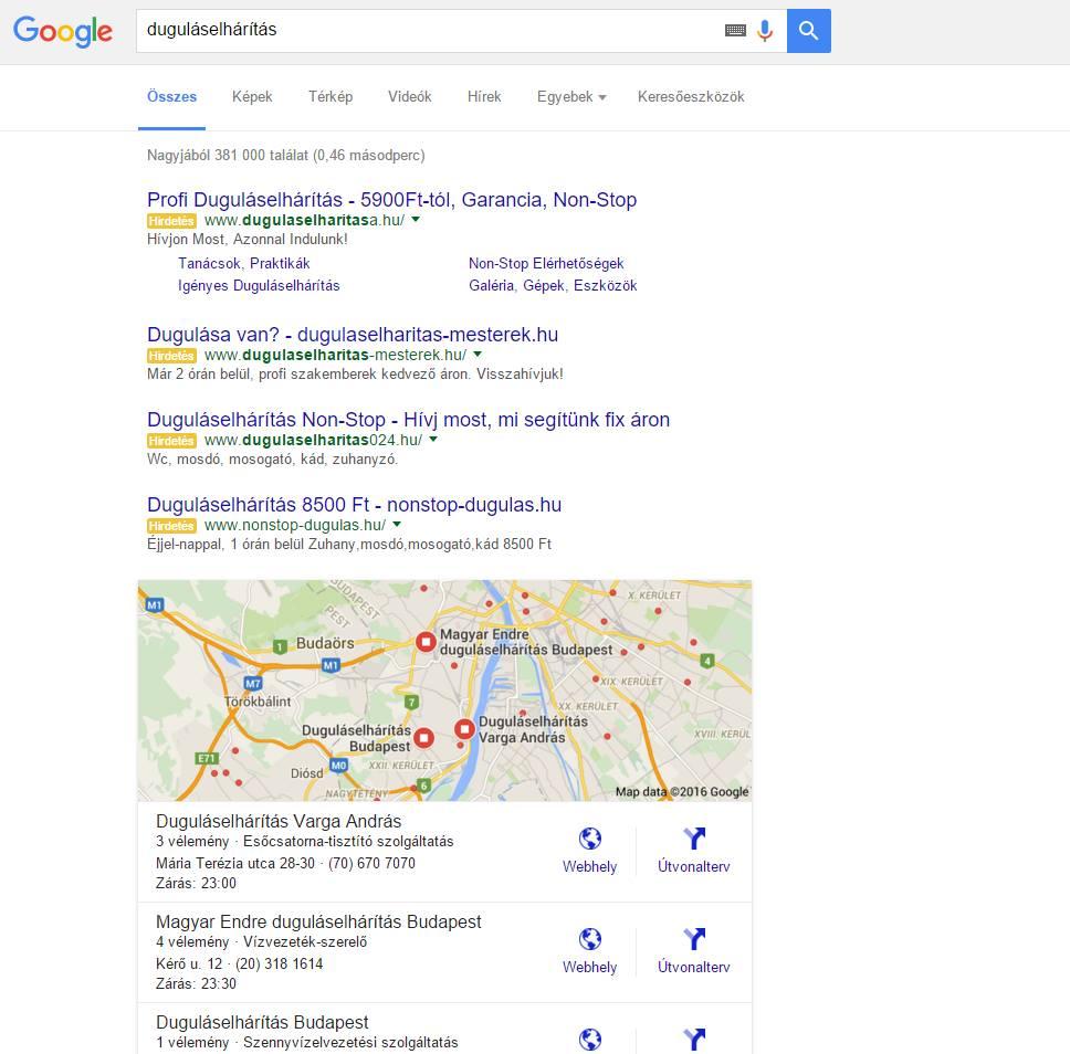 Google Kereső: duguláselhárítás 4 top hirdetéssel, jobb oldal nélkül, térképpel