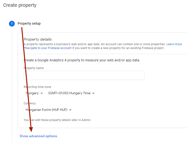 Universal Analytics property létrehozása