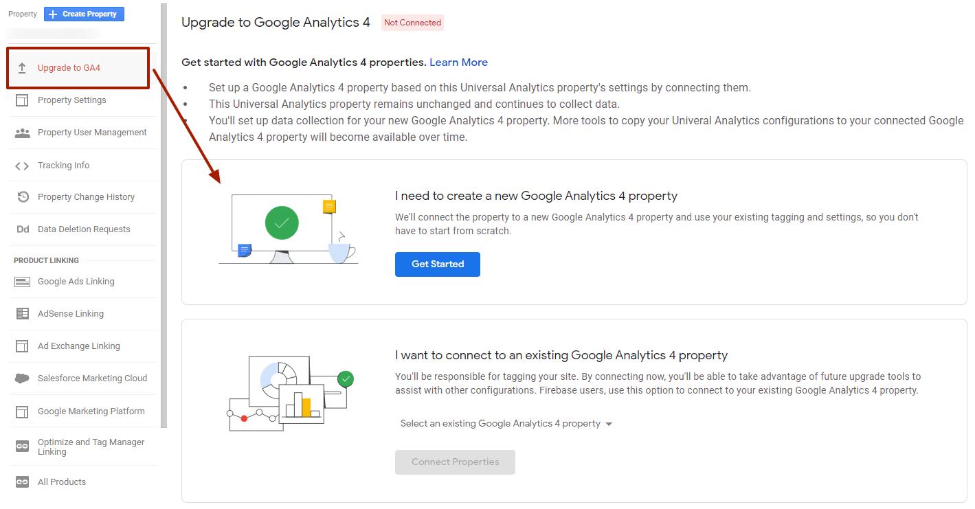 Frissítés Google Analytics 4 propertyre
