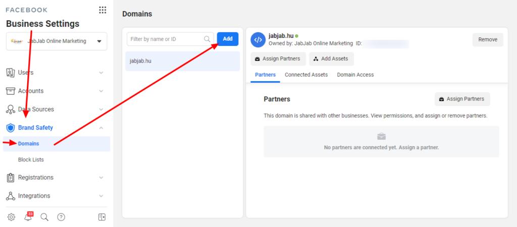 Facebook Business Manager - Domain ellenőrzés - Hozzáadás