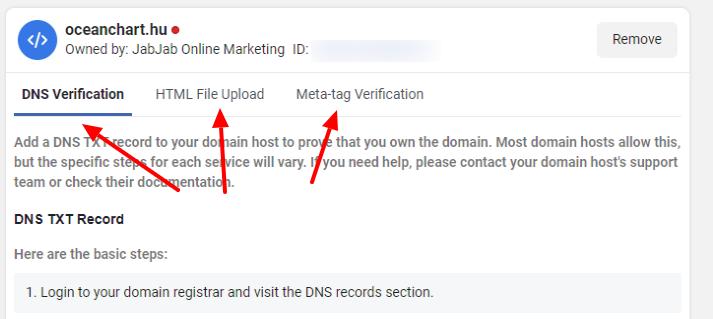 Facebook Business Manager - Domain ellenőrzés - Ellenőrzés kiválasztása